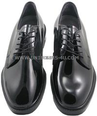 U.S. Military Poromeric corfam Gloss dress oxford shoes with Clarino upper, ultra light weight oil and slip resistant unitsole, Poron perfed sock lining, high density urethane heel cup. Made in U.S.A.