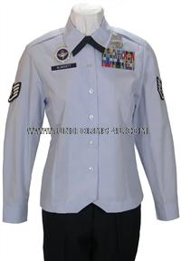 US Air Force Female Enlisted Uniform, customizable to fit your ranks and item needs.