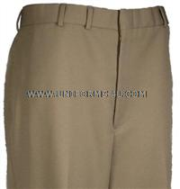 US Navy Male PolyWool Service Dress Khaki (sdk) Pants. They are worn on with the Khaki coat and khaki Poly/Cotton shirt. These pants can also be worn with the short sleeve Poly/Wool shirt (as part of the Summer Khaki uniform).  <ul> <li>Made of premium 75% Polyester / 25% Wool fabric certified by the US Navy, Khaki shade 3729</li> <li>Features our rubberized waistband to keep your shirt properly tucked in</li> <li>Premium Quality khaki pocketing, meeting stringent military specs</li> <li>Permanent crease on the front, keeps a nice dress look</li> <li>We manufacture our pants in the U.S.A., from domestic material</li> </ul>