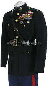 USMC Officer Dress Blue uniform, made of approved 55/45 % premium PolyWool fabric, to stringent United States Marine Corps specifications.