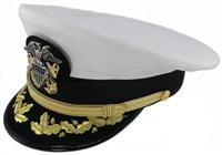 U.S. Navy Officer Dress Combination hat for Commanders and Captains in the United States Navy.  Absolutely beautiful hats.  Decoration is hand sewn on the brim of the hat.  Comes complete and ready to wear.