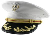 United States Marine Corps &quot;Field  Grade&quot; White Dress Hat. Comes just like you see it in the photo. &lt;br>&lt;br>Beautiful decoration on the brim of the hat. Comes complete and ready to wear. EGA (Eagle, Globe and Anchor) is included.
