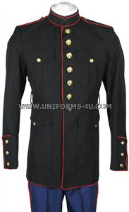 Regulations USMC Dress Blue Coat, for enlisted personnel.  <ul> <li>Beautiful finish, features the scarlet red wool piping on the edges of the coat</li> <li>Includes mounted regulations gold buttons</li> <li>USMC approved shade 2312, made of premium 55/45% Polyester/Wool gabardine blend</li> <li>We manufacture our coats in the U.S., from domestic mil-spec components and US made fabric that strictly meet the different mil-specs, as specified by the Marine Corps. This coat is Berry Amendment compliant.</li> </ul>