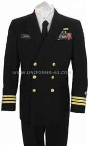 This Customizable <b>US Navy Service Dress Blue Uniform</b> may be prescribed for wear year-round to all official functions when Formal Dress, Dinner Dress or Full Dress Uniforms are not prescribed and civilian equivalent dress is coat and tie.<br>