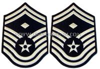 These large dress chevrons are for the rank of Senior Master Sergeant with diamond(male). They are worn on the US Air Force Service Dress Blue and Mess dress Uniform.