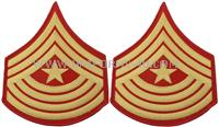 These SNCO large gold embroidered on red chevrons are for the rank of Sergeant Major.Worn with the marine corps SNCO dinner uniform.