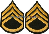 us army chevron gold embroidered on green staff sergeant