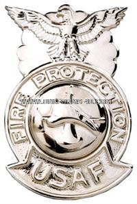 usaf firefighter badge nail back firefighter seal chrome