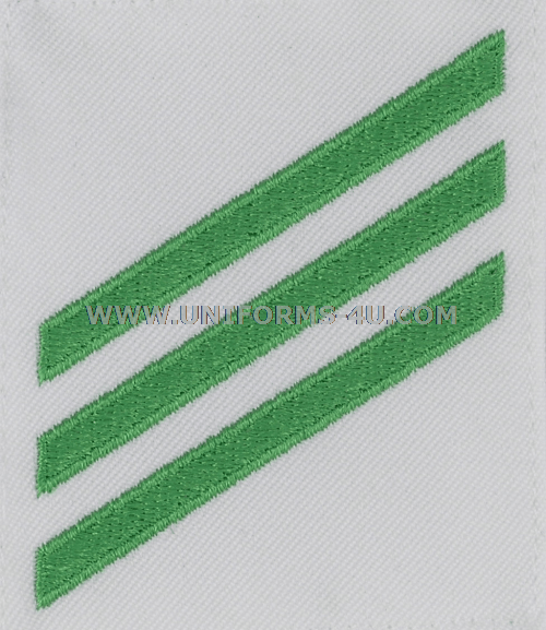 us navy female airman e3 green chevrons on white rating badge