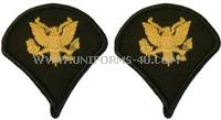 us army small (female) chevrons gold embroidered on green specialist 4
