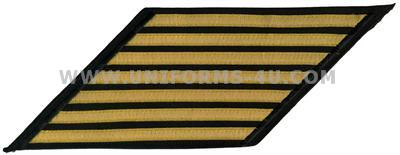 us navy cpo hashmarks male gold lace on blue set of 7