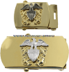 us navy buckle for officer with high relief emblem in gold