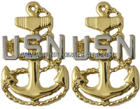us navy collar device e7 chief with pin back for chocker white