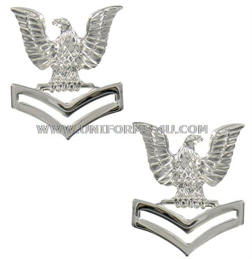 us navy petty officer 2nd class collar device mirror finish for ...
